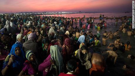 Hindus bathe in Prayagraj, where the Ganges, Yamuna and Sarasvati rivers converge.