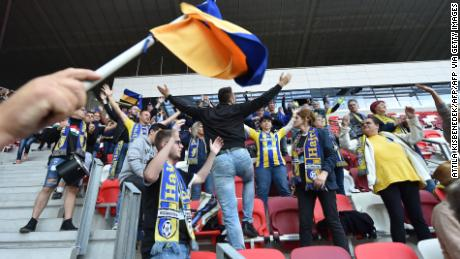Mezokovesd's supporters seemed to ignore the rules of social distancing while cheering on their team during their 1-0 loss.