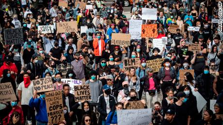 Thousands of people gather for a peaceful demonstration to protest racism in Vancouver on May 31.