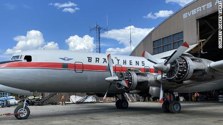 The Douglas DC-6B Cloudmaster prepares for its last flight in Fairbanks, Alaska, in May.