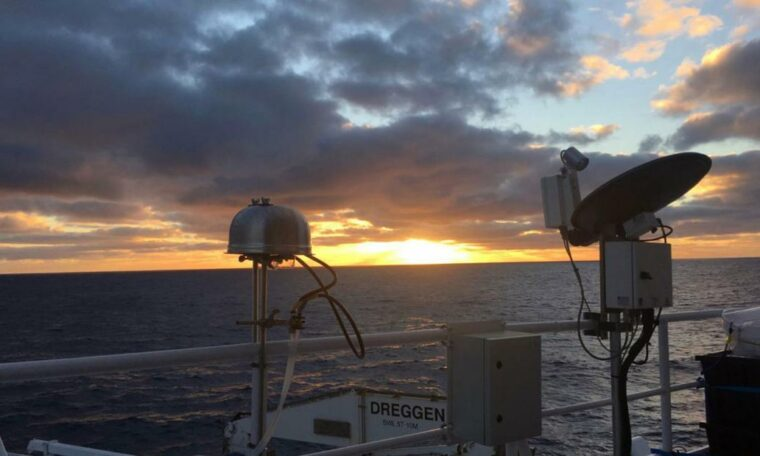 Aerosol filter samplers probe the air over the Southern Ocean on the Australian Marine National Facility's R/V Investigator ship.