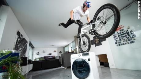 Wibmer describes riding a bike at home as a