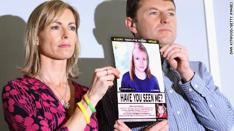 Kate and Gerry McCann have a police image of Madeleine progressed by age during a press conference in London on the fifth anniversary of her disappearance in May 2012.
