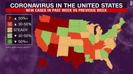 The map shows the change for each state between the 7-day average of new cases in the last week v. The last week.