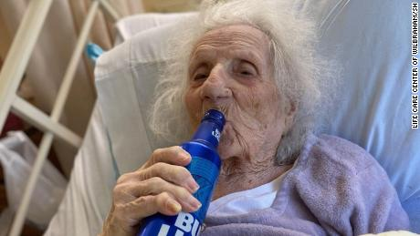 Jennie Stejna enjoys a cold one to celebrate the beating of Covid-19.