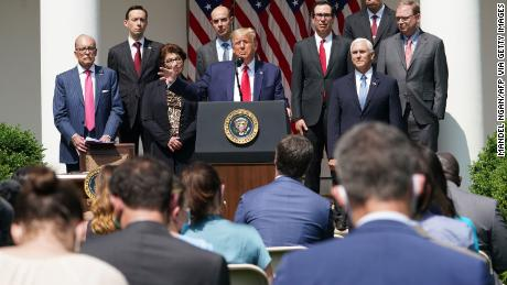 US President Donald Trump holds a press conference on the economy, in the Rose Garden of the White House in Washington, DC, on June 5, 2020. - The US economy regained 2.5 million jobs in May as coronavirus pandemic shutdowns began to ease, sending the unemployment rate falling to 13.3 percent, the Labor Department reported on June 5. (Photo by Mandel NGAN / AFP) (Photo by MANDEL NGAN/AFP via Getty Images)
