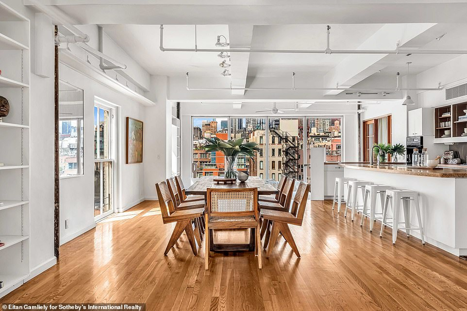 Stunning: The enormous loft property, which Susan purchased in 1991, is located in the Chelsea neighborhood of Manhattan on the seventh and eighth floor of a co-op apartment building