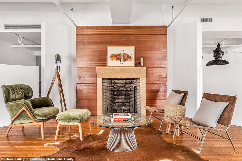 Time to rest: The loft features one wood-burning fireplace, with plenty of room for comfortable chairs
