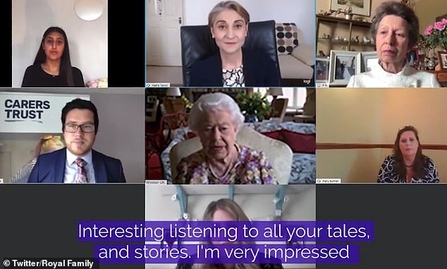 The Queen, 94, joined the Princess Royal, 69, on the conference call with four carers living across the UK who have been responsible for looking after family during the coronavirus crisis. Gareth Howells, chief executive of the Carers Trust (left) also took part in the call