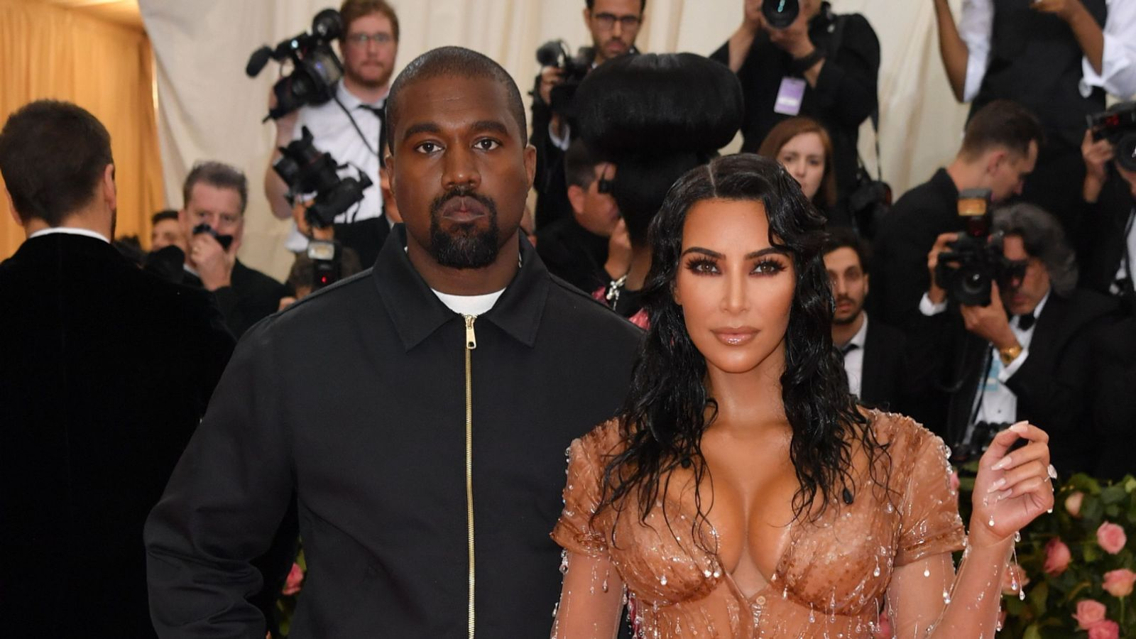 """Kim Kardashian and Kanye West arrive for the 2019 Met Gala at the Metropolitan Museum of Art on May 6, 2019, in New York. - The Gala raises money for the Metropolitan Museum of Arts Costume Institute. The Gala's 2019 theme is Camp: Notes on Fashion"""" inspired by Susan Sontag's 1964 essay """"Notes on Camp"""". (Photo by ANGELA WEISS / AFP) (Photo credit should read ANGELA WEISS/AFP via Getty Images)"""