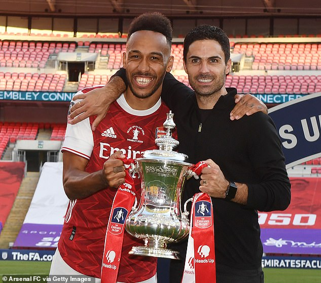 Arsenal are set to offer Pierre-Emerick Aubameyang (left) a new deal worth £250,000 a week