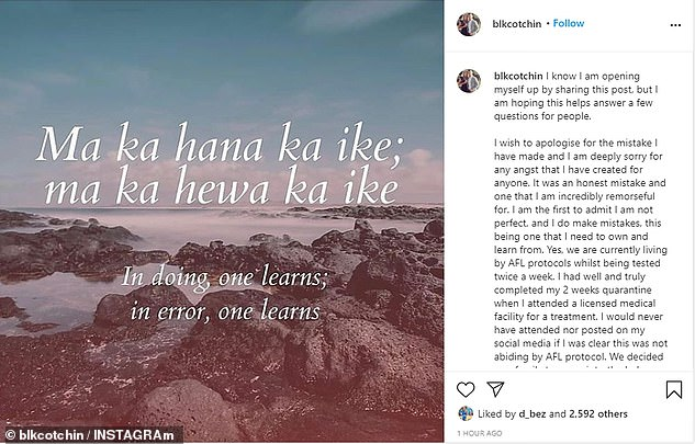 While the mother-of-three remained silent over the weekend, she penned a heartfelt apology on Instagram on Monday for her 'innocent mistake' (pictured)