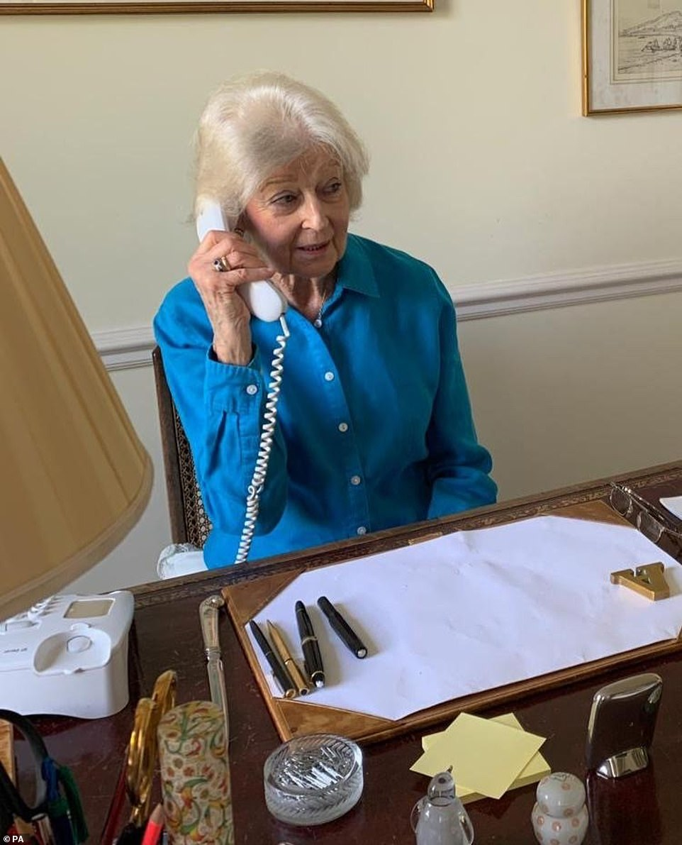 Princess Alexandra (pictured) speaking to Anne Taylor, 87, one of 150 Red Cross staff and volunteers that were written to by the Duchess of Cambridge