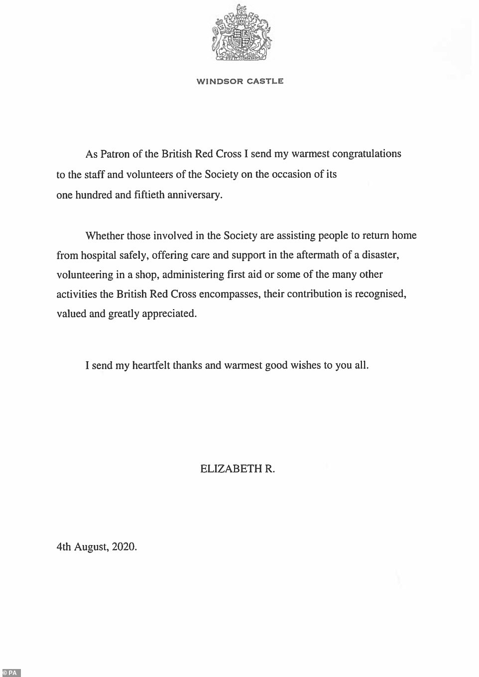 A letter written by Queen Elizabeth II to the British Red Cross to thank staff and volunteers in recognition of their 150th birthday