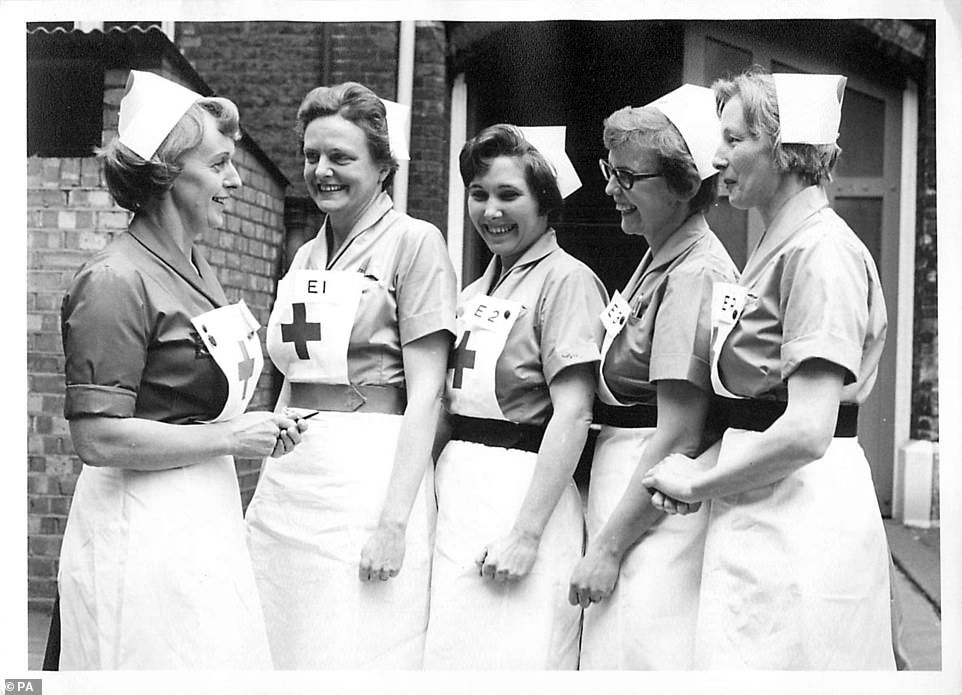 Valerie Middleton (centre), the grandmother of Kate Middleton, who served as a Voluntary Aid Detachment with the British Red Cross in the Second World War
