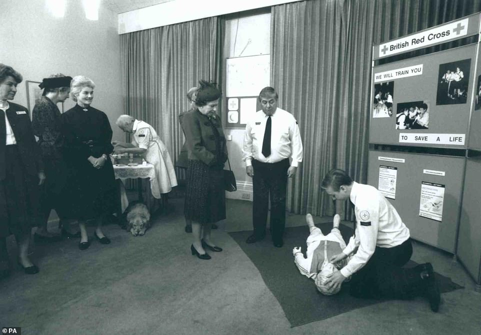 Her Majesty during a visit to the British Red Cross national headquarters in 1989 (pictured)