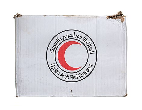 Syria Arab Red Crescent food parcel distributed during the Syria crisis