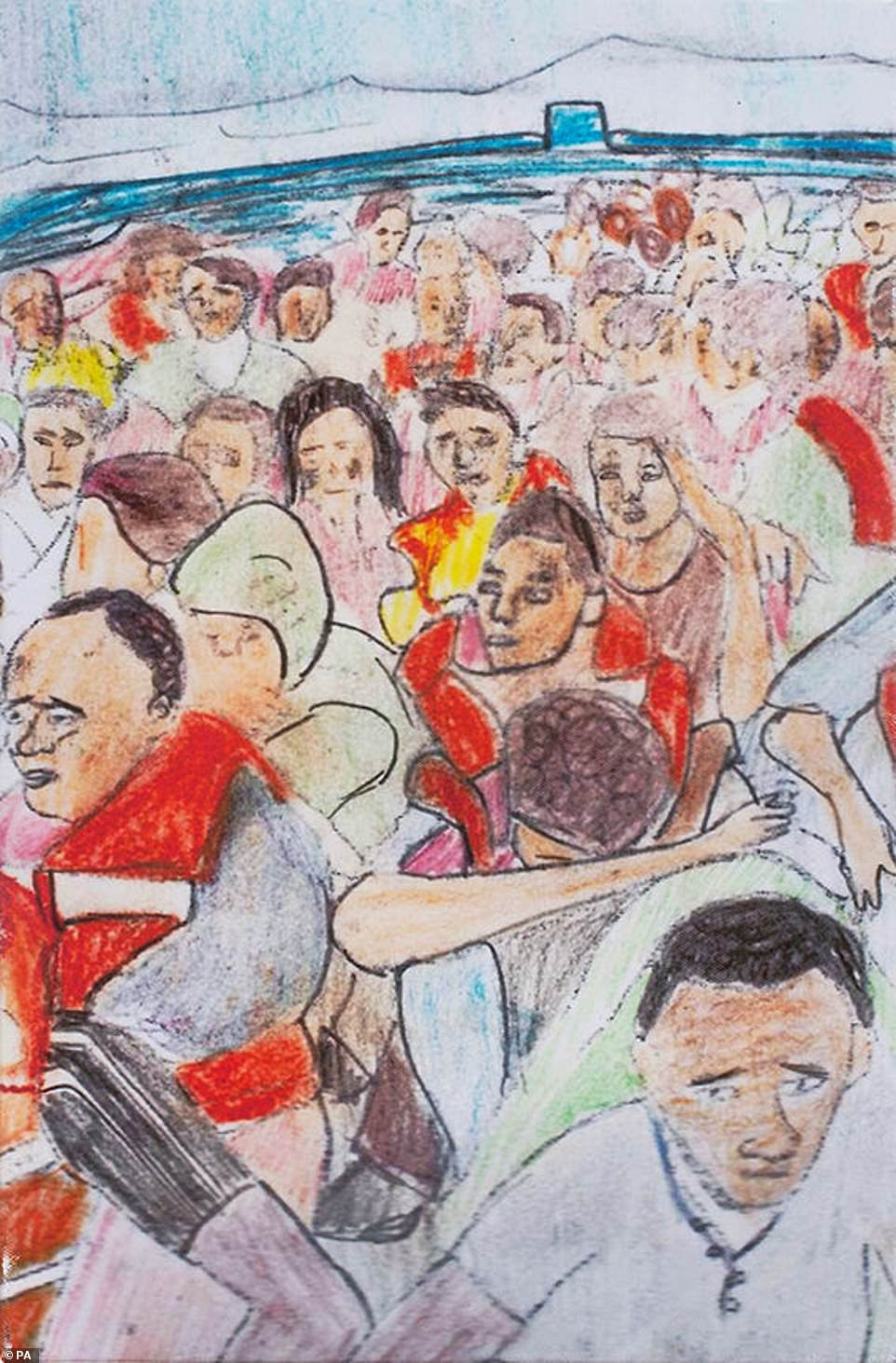 A painting by a young refugee called 'Journey by Boat', which features in the 150 Voices exhibition, marking the 150th anniversary of the British Red Cross