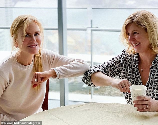 Latest project: Nicole (left) told fans on Saturday that she 'can't wait' to introduce viewers to her new $100M series Nine Perfect Strangers. Pictured: Liane Moriarty (R)