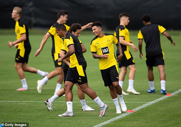 Sancho pictured during Borussia Dortmund's training camp in Switzerland today