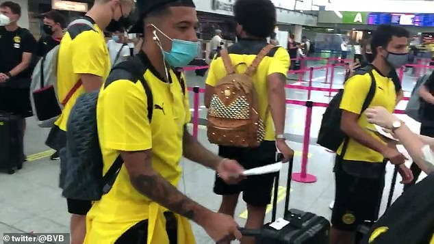 The 20-year-old winger jetted off to Switzerland with his team-mates earlier in the day