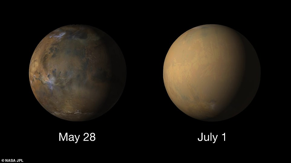 On the left is a picture of Mars taken by MRO showing the planet before the 2018 dust storm enveloped the whole planet - as seen by the nearly featureless world shown in the right hand image