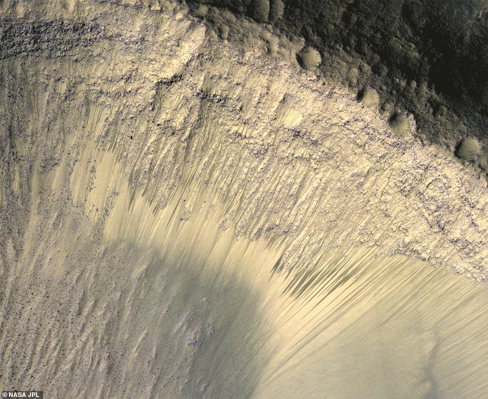 This composite image shows how  the appearance of dark markings on Martian slope changes with the seasons. These dark streaks appear in the same places at around the same times of year