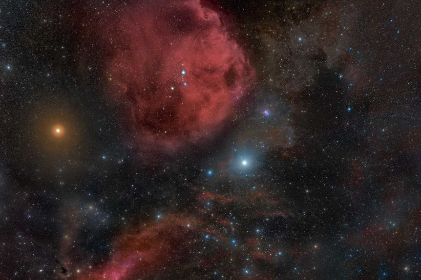 The Orion constellation showing the surrounding nebulas and red supergiant star Betelgeuse.