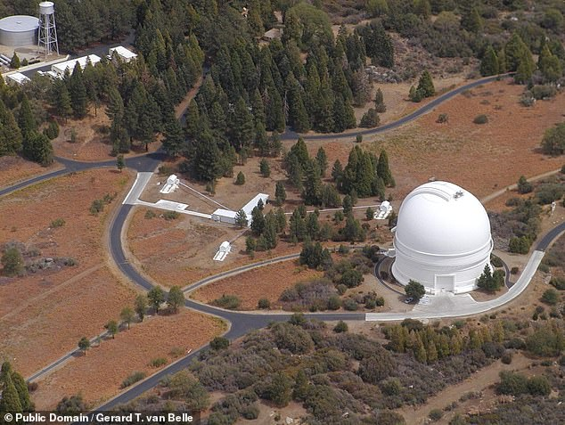 The asteroid was first spotted by the Palomar Observatory in California, pictured, some six hours after it had made its closest pass of the Earth and was already flying off into outer space