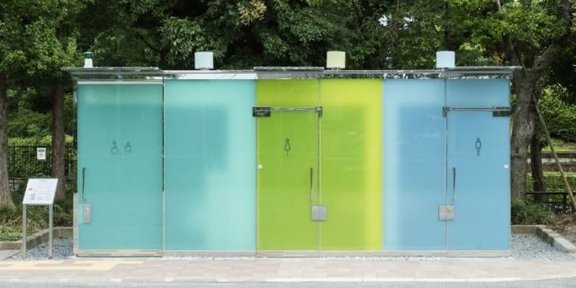 The colored-glass washrooms are cleverly designed to be transparent when unoccupied — so potential users can confirm they're empty and clean — but turn opaque once the door is locked internally.