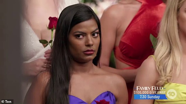 Angry: Areeba fumed during the rose ceremony, following a tense confrontation withJuliette after she secretly slipped a love note to Locky