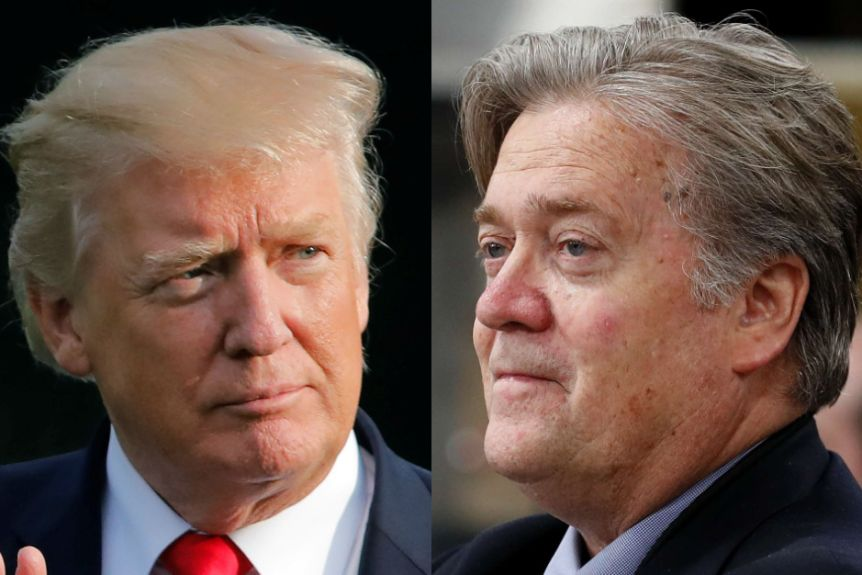 A composite image of US President Donald Trump and Steve Bannon.