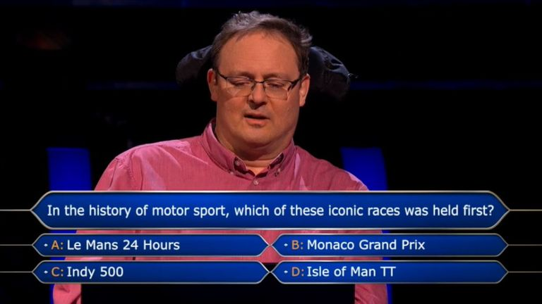 Andrew Townsley faced with the million-pound question on Who Wants To Be A Millionaire. Pic: ITV