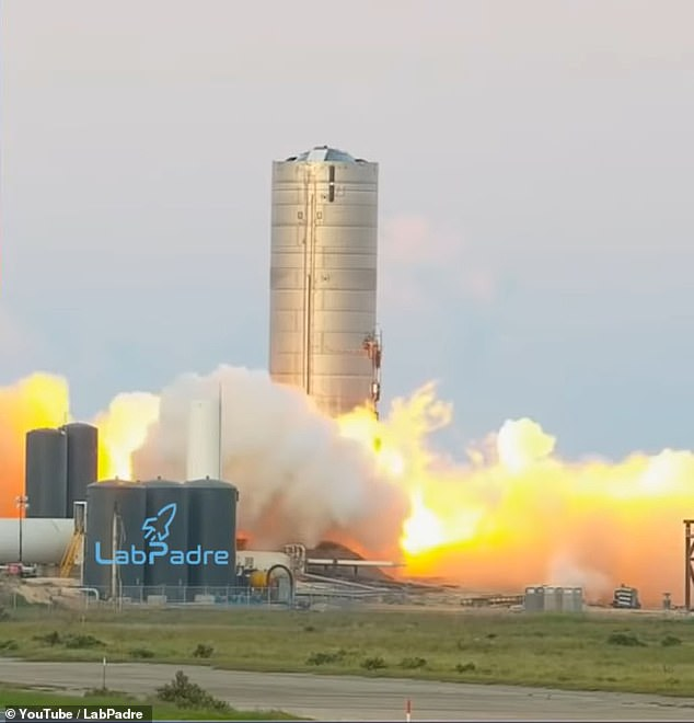 The company lit up the prototype's Raptor Engine during a static fire trial, releasing bursts of fire and smoke from the base - it was, however, the third attempt of the test
