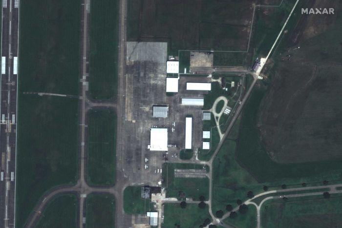 Closeup of Lake Charles Regional Airport via satellite before Hurricane Laura.