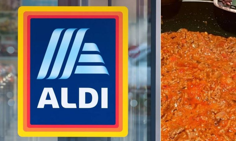 ALDI supermarket shopper's bolognese hack using Mediterranean Delite Garlic Dip and Colway's Caramelised Onion Relish