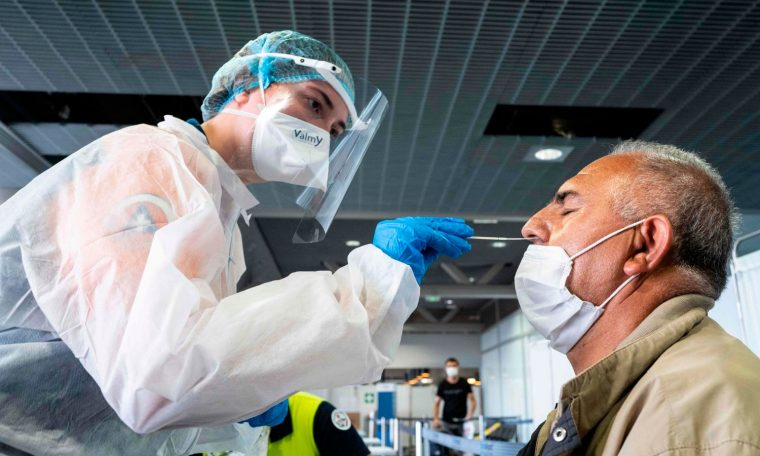 Coronavirus testing at the Basel Mulhouse EuroAirport in Saint Louis, eastern France