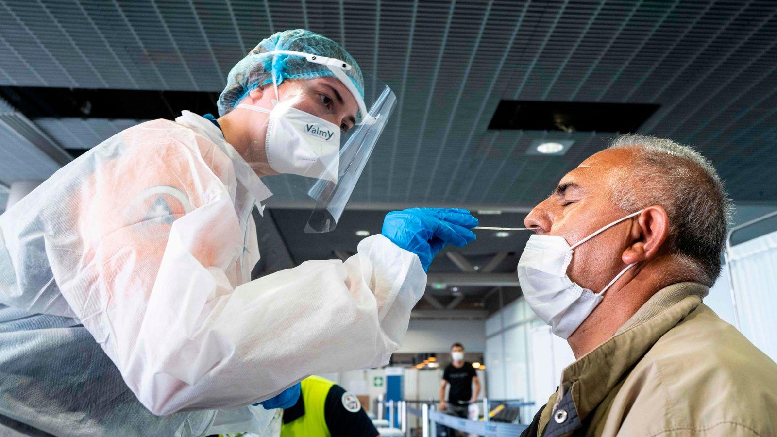 Coronavirus testing at the Basel Mulhouse EuroAirport in Saint Louis, eastern France