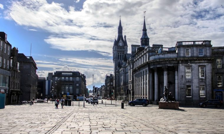 Aberdeen, Aberdeenshire, Scotland, UK: April 16, 2018: Town House seen from Castlegate. City centre, Union Street & King Street.