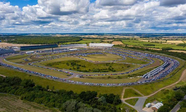 Thousands of new cars have been parked at the Rockingham Motor Speedway in Corby, Northamptonshire ahead of their delivery to dealerships around the country