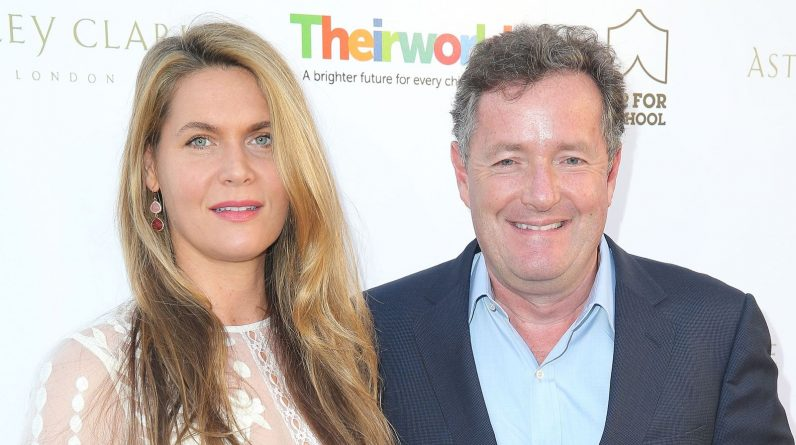 LOS ANGELES, CA - JUNE 02:  Journalist Piers Morgan (R) and wife, Celia Walden, attend the British Consul General hosted Theirworld collaboration with Astley Clarke summer reception at The British Residence on June 2, 2015 in Los Angeles, California.  (Photo by Imeh Akpanudosen/Getty Images)