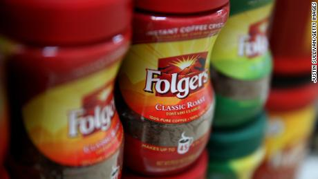 Packages of Folgers coffee are displayed on a shelf at a grocery store on June 5, 2014 in San Rafael, California.