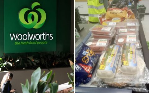 Pictured is a Woolworths store (left) and a woman's large grocery shop on a grocery belt (right).