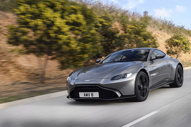 The luxury sports car is believed to be the Aston Martin V8 Vantage (above), priced at around 4 124,000