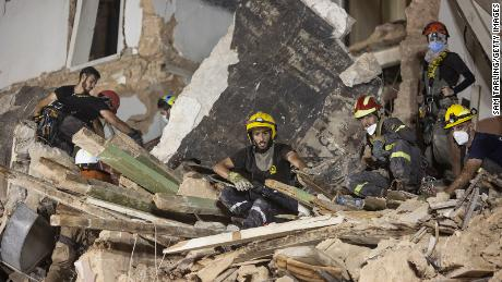 Rescued workers removed the rubble from the destroyed building with the aim of finding a survivor after the Beirut bombing.