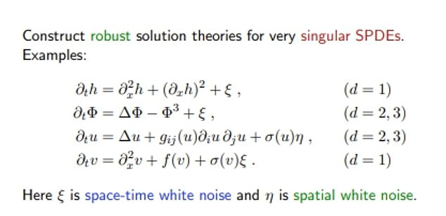 The picture is an example of Professor Hire's captivating equations as shown on his website