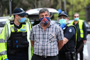 Another person was detained in Melbourne during the protests.