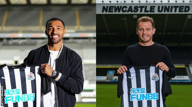 Split picture of Wilson and Ryan Fraser holding shirts in Newcastle