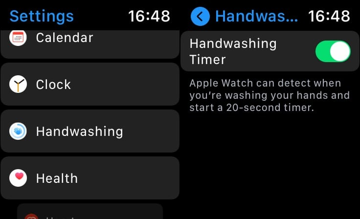The handwash timer can be run directly on the Apple Watch in the Settings app.