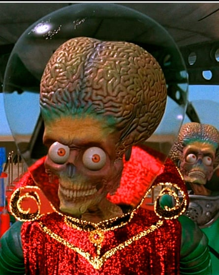 A scene from the movie Mars Attacks, however any life forms on the Red Planet could certainly be simple creatures.